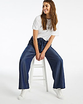 Indigo Tencel Belted Wide Leg Trousers