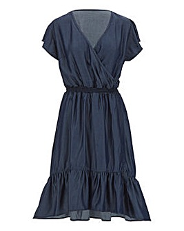 Indigo Tencel Frill Wrap Dress
