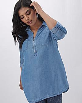 Mid Blue Zip Front Soft Tencel Denim Tunic