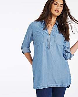 Mid Blue Zip Front Soft Tencel Denim Tunic