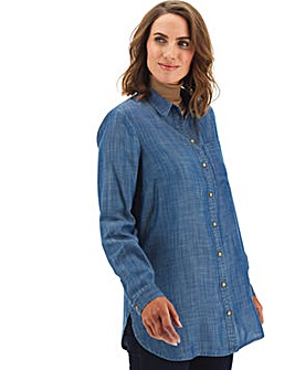 Dark Blue Longline Tencel Denim Shirt