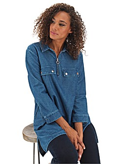 Blue Premium Jersey Denim Utility Tunic