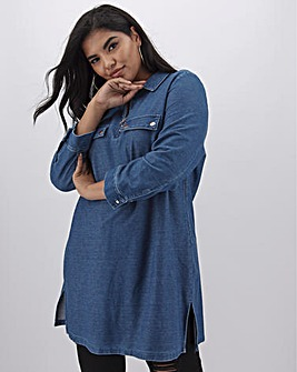 Blue Premium Jersey Denim Utility Tunic with Rose Gold Trims