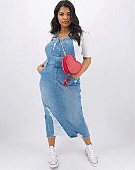 Light Stonewash Ripped Maxi Dungaree Dress