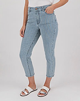 Blue Stripe Denim Crop Slim Jeans