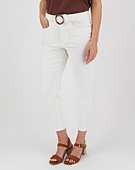 Ecru Belted Crop Wide Leg Jeans