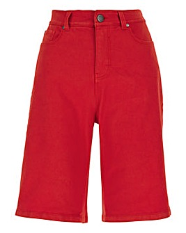 24/7 Red Knee Length Denim Shorts