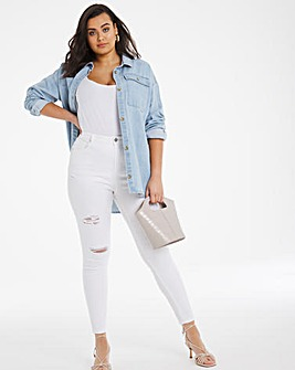 Chloe White High Waist Ripped Skinny Jeans