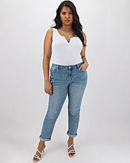 Fern Light Vintage Blue Ripped Slim Boyfriend Jeans Regular Length