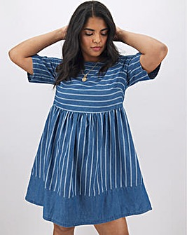 Stripe Lightweight Denim Smock Dress