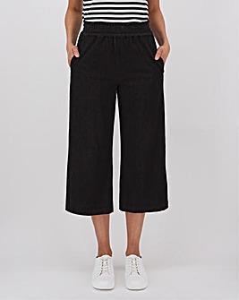 Black Premium Jersey Denim Crop Wide Leg Jeans