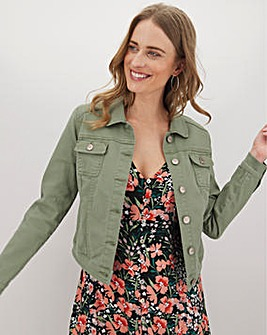 Soft Khaki Western Denim Jacket