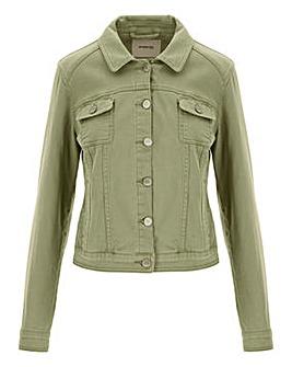 Soft Khaki Western Denim Jacket