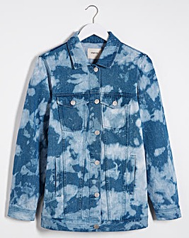 Bleach Tie Dye Oversized Denim Jacket