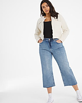 Ecru Collarless Zip Front Denim Jacket