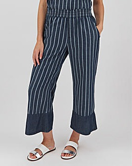 Indigo Stripe Lightweight Denim Culottes