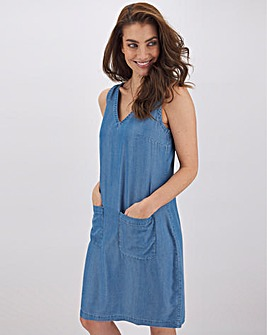 Mid Blue Tencel Shift Dress