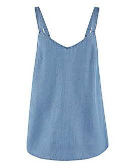 Light Blue Tencel Vest Top with Adjustable Straps