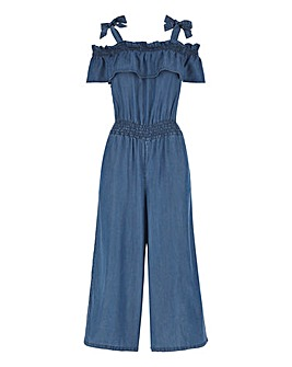 Mid Blue Tencel Bardot Jumpsuit