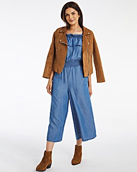 Mid Blue Tencel Bardot Jumpsuit with Adjustable Tie Straps