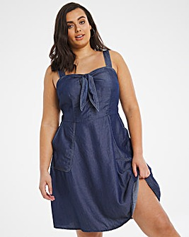 Indigo Soft Lyocell Denim Bow Detail Mini Dress with Contrast Stitch Detailing