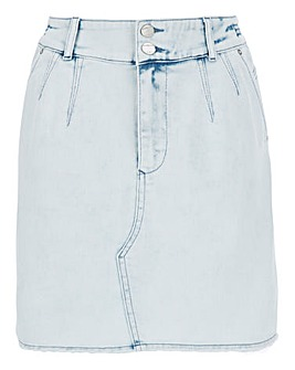 Bleach Acid High Waist Denim Mini Skirt