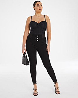Black Button Front High Waist Shaper Jeggings