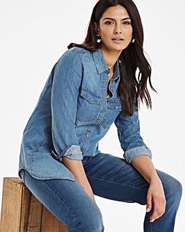 Mid Blue Western Denim Shirt