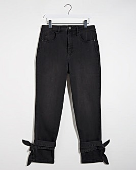 Washed Black Tie Hem Demi Mom Jeans