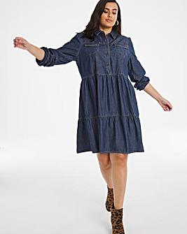 Indigo Denim Smock Shirt Dress