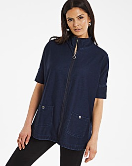Premium Jersey Denim Cape Sleeve Zip Front Jacket