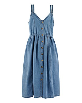Blue Button Front Lightweight Denim Midi Dress with Double Strap Detailing