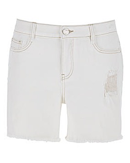 Ecru Fern Distressed Denim Shorts