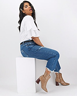 Ashley Ripped Crop Straight Leg Jeans