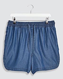 Indigo Pull On Tencel Shorts