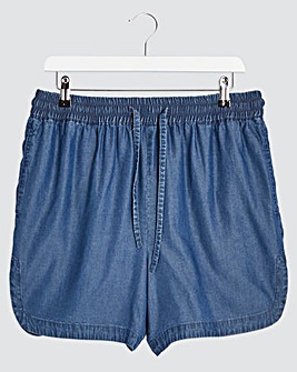 Indigo Pull On Tencel Shorts with Elasticated Waist