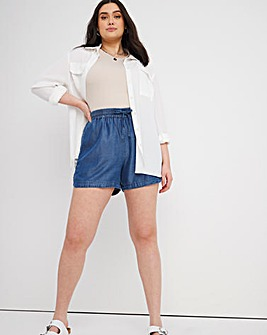 Indigo Pull On Soft Tencel Denim Shorts with Elasticated Waist