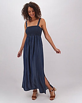 Indigo Tencel Bandeau Maxi Dress
