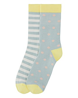 Pretty Polly 2PP Dot/Strp Bamboo Socks