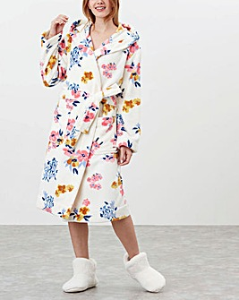 Joules Rita Print Fluffy Dressing Gown