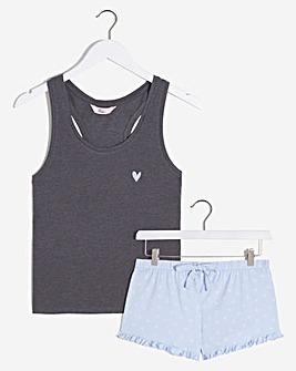 Boux Avenue Hearts Vest and Shorts Set