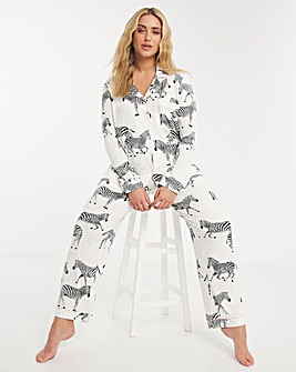 Chelsea Peers NYC Zebra Button Up PJ Jersey Set
