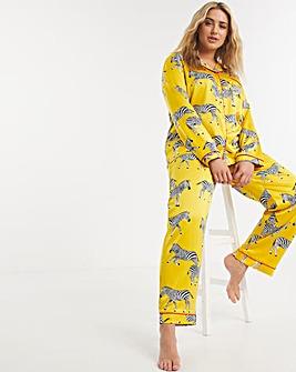Chelsea Peers NYC Mustard Zebra Satin PJ
