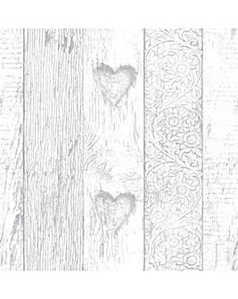 Fresco Plank Love Heart Wallpaper