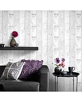 Fresco Great Value Plank Wood Effect Love Heart Print Wallpaper Grey