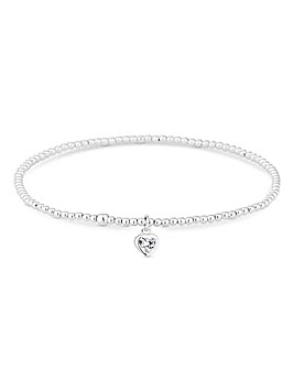 Simply Silver Sterling Silver 925 Silver  Heart  Stretch Bracelet