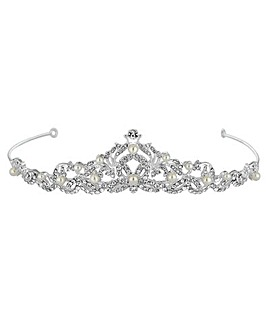 Jon Richard Silver Plated Pearl And Crystal Isabella Swirl Tiara