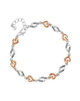 Rose Gold Heart And Pave Silver Crystal Link Brace