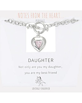 Daughter Heart T Bar Bracelet