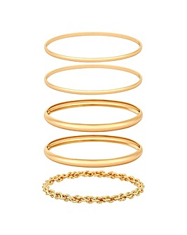 Mood Gold Plated Rope Bangle Pack Of 5